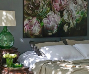 bedroom, interior, and flowers image