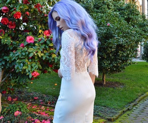 girl, purple hair, and hair image