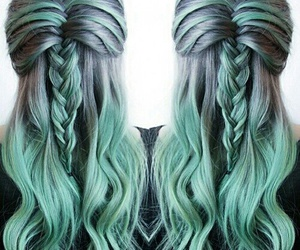 hair, hairstyle, and green image