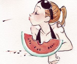 girl, watermelon, and summer image
