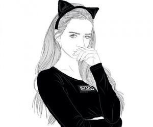 outline, tumblr, and cat image