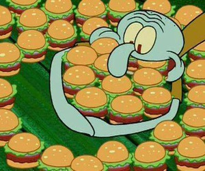 food, spongebob, and burger image