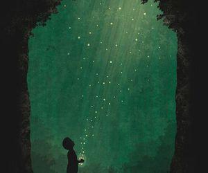 art, boy, and fireflies image