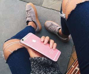 girl, iphone, and adidas image