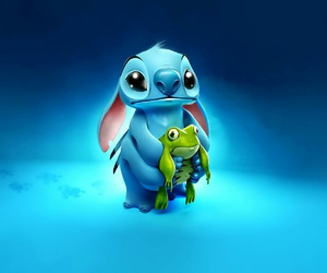 stitch, frog, and blue image