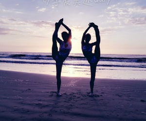 beach, flexible, and sisters image