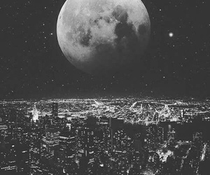 moon, city, and night image