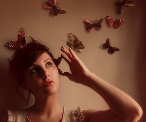 butterflies, girl, and conceptual image
