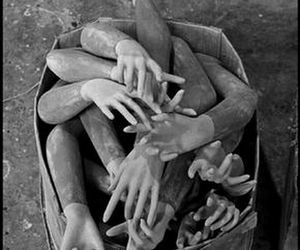 arms, black and white, and creepy image