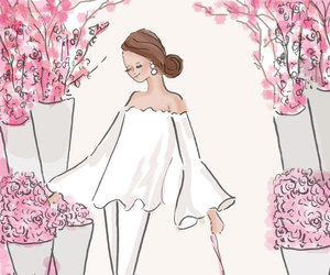 etsy, fashion illustration, and flowers image