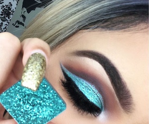 makeup, glitter, and blue image