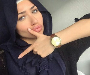 beauty, green eyes, and hijabista image