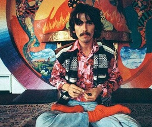 george harrison, the beatles, and hippie image