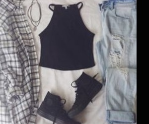 black, outfit, and flannel image