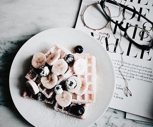 food, banana, and waffles image