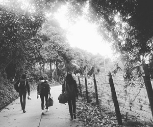 black and white, squad, and walking image