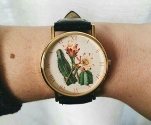 cactus, watch, and flowers image
