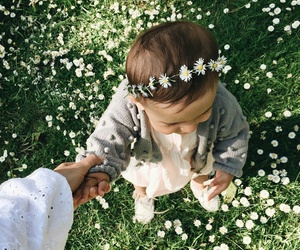 baby, flowers, and kids image