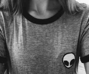 alien, grunge, and black and white image