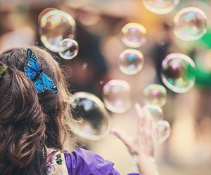 bubbles and butterfly image