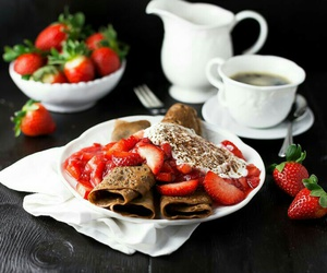 strawberry, coffee, and crepes image