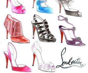 shoes, louboutin, and illustration image