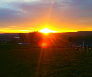 home, ranch, and sunrise image