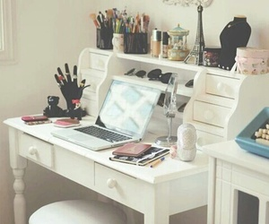 desk, dressing table, and mirror image