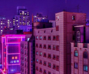 pink, city, and purple image