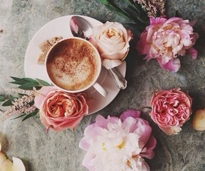 coffee, comfort, and flowers image