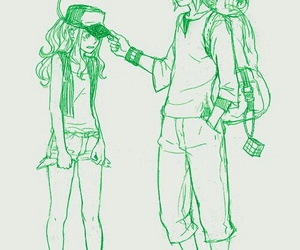 anime, green, and love image