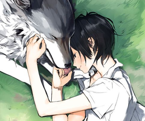 wolf, anime, and boy image