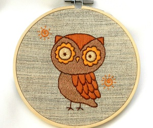 cute owl, hand embroidery, and hoop art image