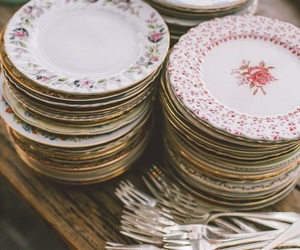 vintage, dishes, and fork image