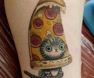 cat, tattoo, and pizza image