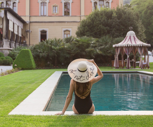 hat, pool, and summer image