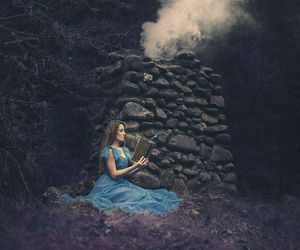 blue, book, and dress image