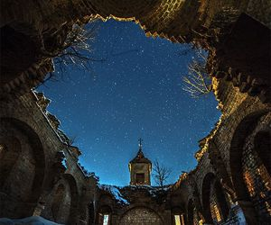 abandoned, church, and night image