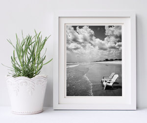 beach, black and white, and clouds image