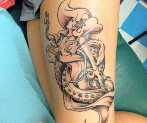 anchors, tattoo, and black and grey image