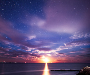 stars, sunset, and sky image