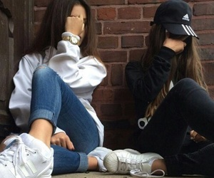girl, adidas, and friends image