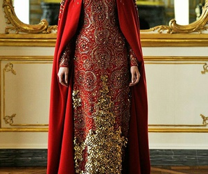 dress, gold, and red image