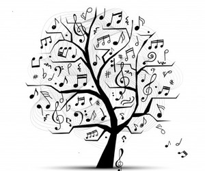 music, notes, and tree image