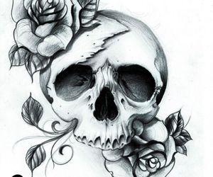 skull, rose, and art image
