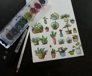 flowers, art, and cactus image