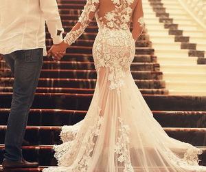 dress, wedding, and love image