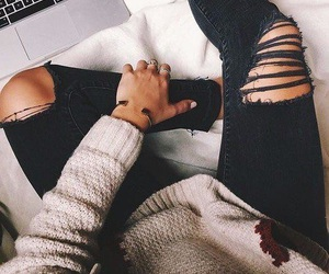 fashion, jeans, and rips image