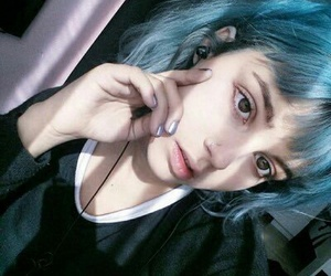 blue hair and girl image