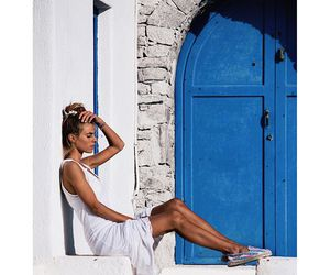 blue, white, and dress image